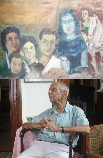 (Bottom) Painter Kekoo Gandhy (top). The family portrait by MF Husain.