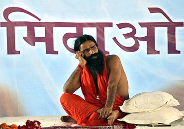 Baba Ramdev at his Haridwar ashram