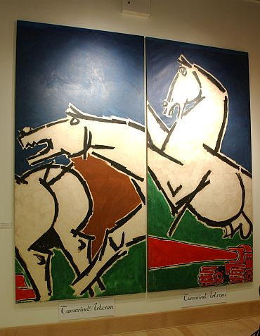 A painting from Husain's 'horses' series