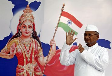 Anna Hazare during his anti-corruption agitation in New Delhi