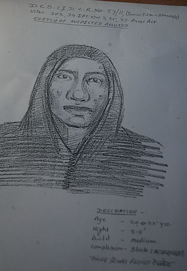 The sketch of the alleged murderer of J Dey released by Mumbai police on Monday