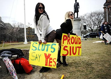 People take part in the Slutwalk protest in Toronto