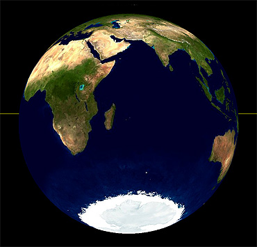 The view of the earth from the moon during a lunar eclipse