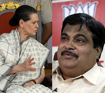 Congress chief Sonia Gandhi and BJP president Nitin Gadkari