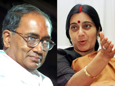Congress leader Digvijay Singh and BJP leader Sushma Swaraj