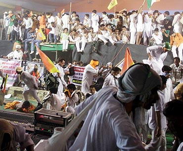 The police crackdown at Ramlila Ground