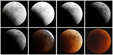 Combination photo shows the moon as it undergoes a total lunar eclipse as seen from Jerusalem
