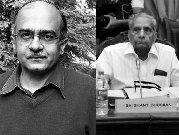 Civil society representatives in the joint Lokpal bill drafting committee Prashant Bushan (left) and Shanti Bhushan (right)