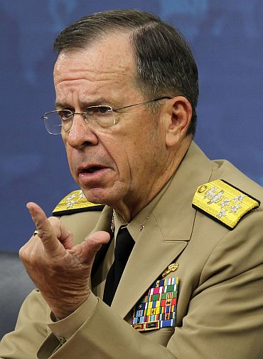Chairman of the Joint Chief of Staff Admiral Mike Mullen speaks as he conducts a news briefing at the Pentagon