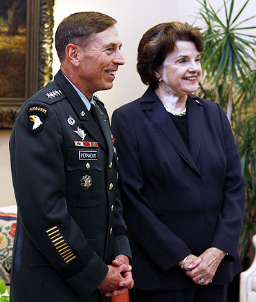 Commander of US Forces in Afghanistan David Petraeus with Senator Dianne Feinstein