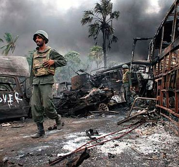 File photo of a Sri Lankan soldier inside the active war zone
