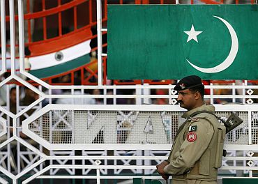 A Pakistani Ranger stands during a daily parade at the Pakistan-India joint check post at Wagah border