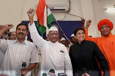 (From left) Social activists Arvind Kejriwal, Anna Hazare, Kiran Bedi and Swami Agnivesh in New Delhi