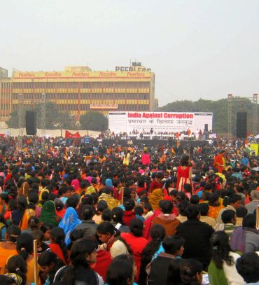 A protest rally against corruption at Ramleela Maidan
