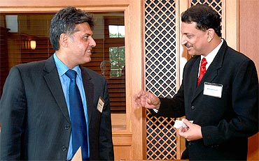 Congress spokesperson Manish Tiwari with his BJP counterpart Rajiv Pratap Rudy at Yale Univesrity
