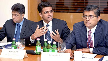 Tiwari, Pilot and Panda participate in a question-and-answer session