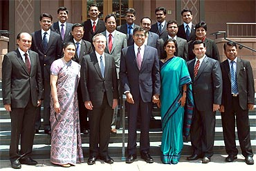 Visiting Indian parliamentarians pose for shutterbugs at Yale