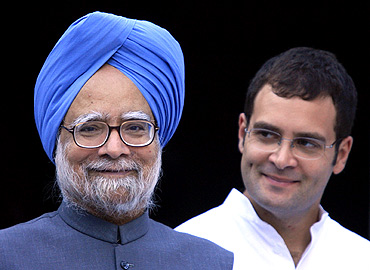 PM Singh with Rahul Gandhi at a function in New Delhi