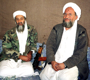A file photo of Osama bin Laden with Ayman al-Zawahiri