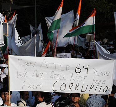 Protests in favour of the Lokpal bill in New Delhi