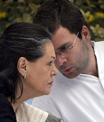 Congress President Sonia Gandhi with son Rahul Gandhi