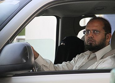 A Saudi man drives his relatives in Jeddah