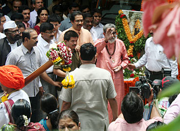 Bal Thackeray waves out to his supporters
