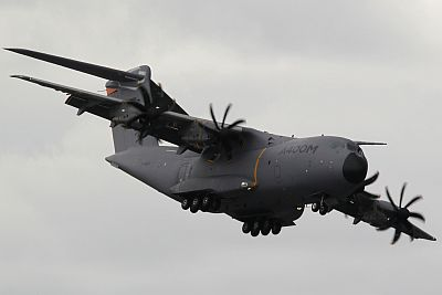 An Airbus A400M military aircraft lands at Le Bourget airport