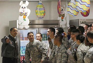 US President Barack Obama  with troops at Bagram Air Base in Kabul
