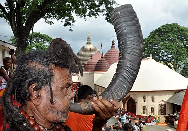 A holy man at the Kamakhya temple ahead of the Ambubachi mela'