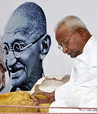 Anna Hazare during his fast in April