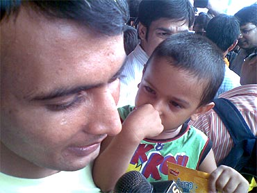 Indian sailor Ravinder Singh is delighted to reunite with his son