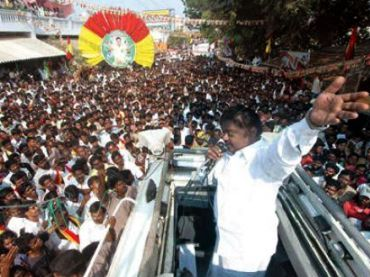 File photo of DMDK leader Vijayakanth at a rally