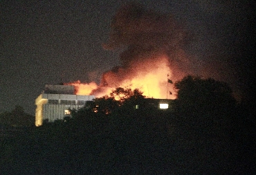 Smoke rises from the Intercontinental hotel in Kabul