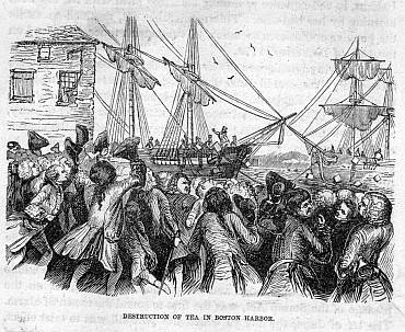 Rioters dressed as American Indians throwing boxes of tea into Boston Harbour, while being urged on by a mob of Bostonians