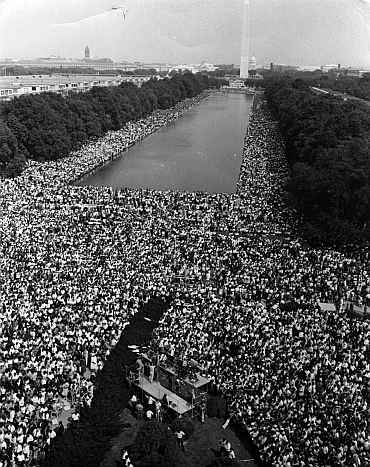 Over 200,000 people gather around the Lincoln Memorial in Washington DC, where the civil rights March on Washington ended with Martin Luther King's 'I Have A Dream' speech