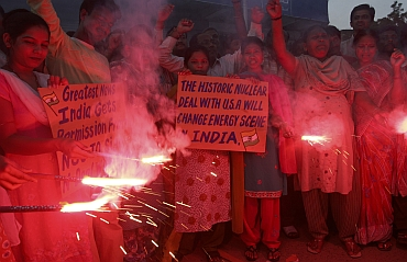 Congress supporters celebrate the approval of US-Indian atomic energy deal