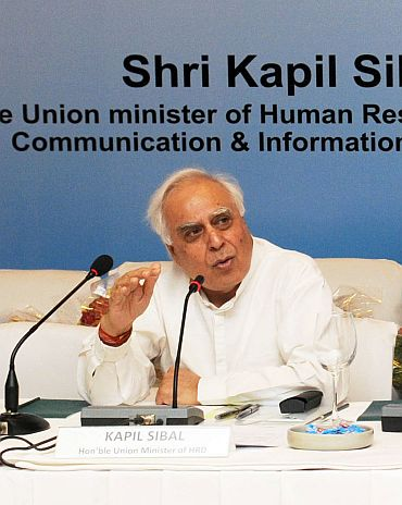 OUT: Telecom and Human Resource Development Minister Kapil Sibal