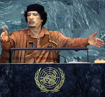 Libyan leader Muammar Gadaffi speaks at the United Nations General Assembly