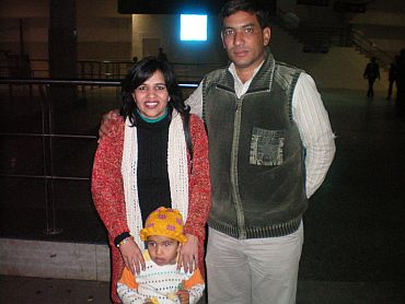 Savita Kumari with her husband Rakesh on their arrival from Libya at the IGI airport on Tuesday