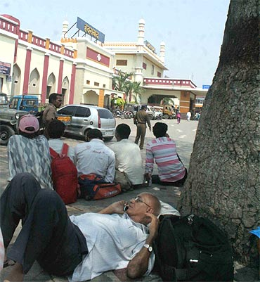 Passengers stranded at the Hyderabad railway station