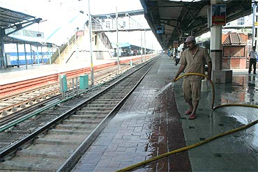 A maintenance staff at a deserted Hyderabad station