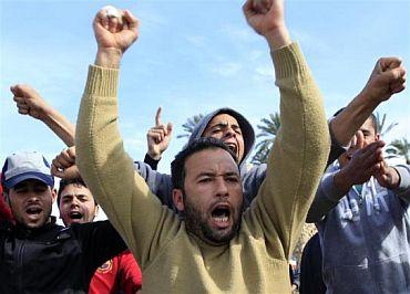 Protesters chant anti-Gaddafi slogans in the Tajoura neighbourhood of Tripoli