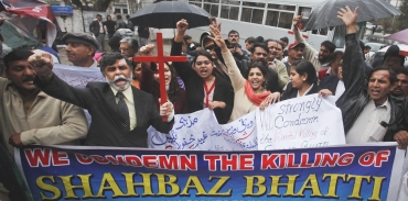 People shout slogans to protest against the killing of Pakistani Minister for Minorities Shahbaz Bhatti during a demonstration in Lahore
