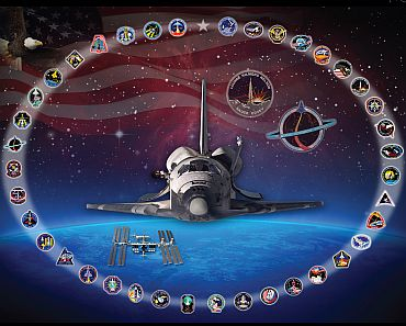 Discovery is shown circled by its 39 mission patches -- including the patch for its final flight, STS-133. The background image was taken from the Hubble Space Telescope, which launched aboard Discovery on STS-31 and serviced by Discovery on STS-82 and STS-103