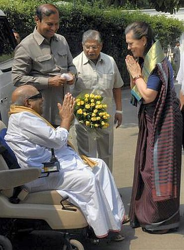 A file photo of Congress chief Sonia Gandhi with DMK president Karunanidhi