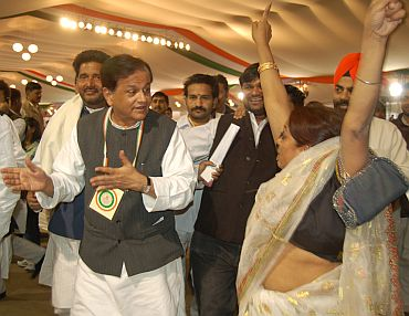CWC member Ahmed Patel (centre) with supporters at the Congress plenary session in Burari