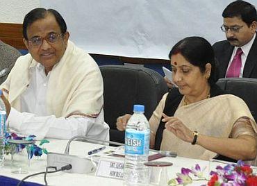 Chidambaram with Sushma