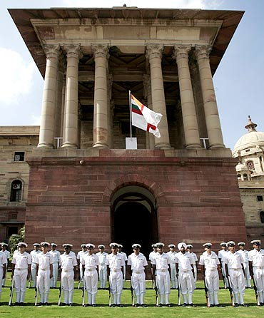 Indian Navy sailors ready to present a guard of honour to Bangladesh's chief of naval staff