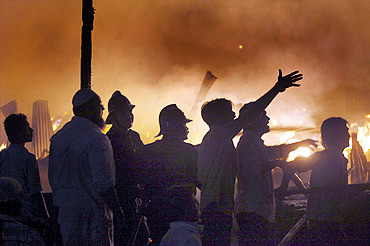 Firemen doused the fire after almost four hours